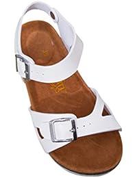 ZKOO Damen Sandalen Flache Schuhe Kork Fußbett Glattleder Gurt Slipper  Hausschuhe Fesselriemen Zehentrenner Pantoletten Schlappen 11e05196fc
