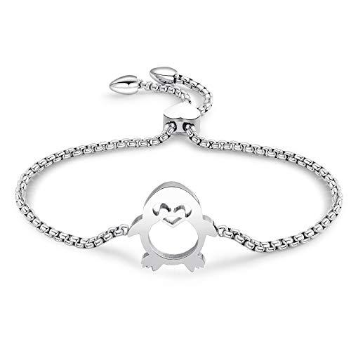 AnazoZ Schmuck Armband Titan Armkette Armbänder Pinguin Form Kette Lang Modeschmuck Silber
