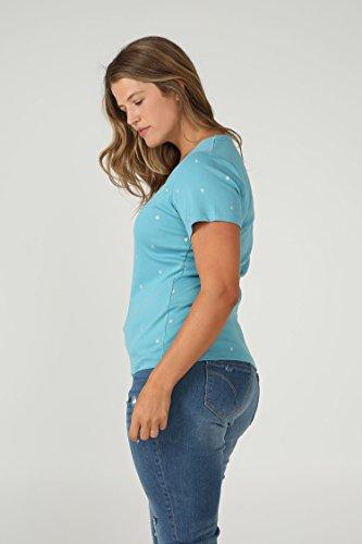 Paprika Damen große Größen Mit Tupfen bedrucktes T-Shirt aus Bio-Baumwolle Himmelblau
