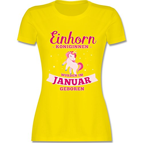 Shirtracer Geburtstag - Einhorn Königinnen Wurden IM Januar Geboren - Damen T-Shirt Rundhals Lemon Gelb