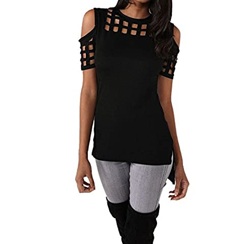 Uranus Women's Stylish Hollow Out Pullover Henley Top Black