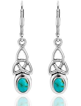 DTPsilver -Damen - Ohrringe 925 Sterling Silber Keltisch Trinity mit Türkis
