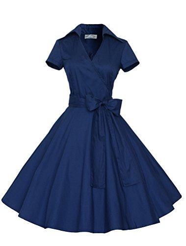 MatchLife Femme Slim Fit Vintage Rockabilly Robe de Soirée Bleu Marin