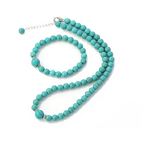 treasurebay 8-12mm Natur Edelstein Perlen Halskette und Armband Schmuck-Set (blau türkis)