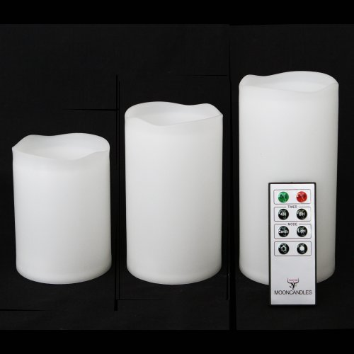 Frostfire Mooncandles - Set de 3 velas impermeables para uso en exterior e interior con mando a distancia y temporizador