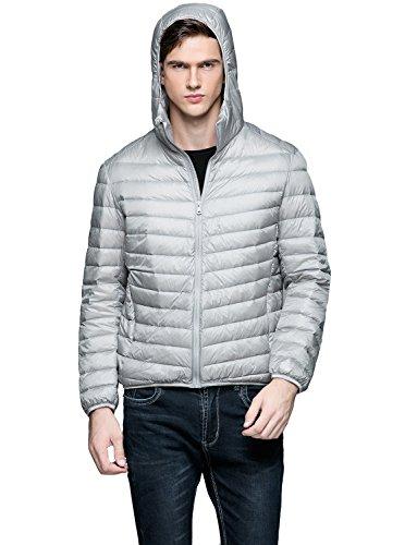 Belloo Herren leicht zusammenklappbar Daunenjacke mit Kapuze 5 Farbe,L-XXXL Grau
