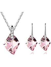 Young & Forever Mothers Day Gifts Aurora Jewelry Set Made With Pink Crystal From Swarovski, Pendant Necklace Earrings...