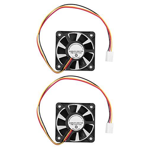 Demiawaking 3 Pin CPU 5cm Kühler Lüfter Kühlkörper Kühlung 50mm 10mm für PC Computer 12V (2Stk.)