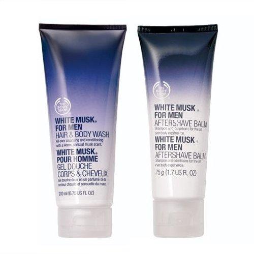 La Body Shop capelli & corpo 250ml + la Body Shop acqua Balsam 75ml per rasoio Arber/Kistna/Muschio Bianco Weißer Moschus