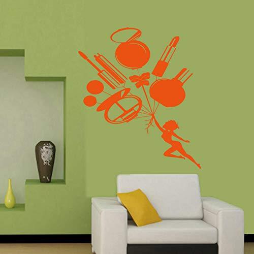 Kosmetik Schönheitssalon Vinyl Aufkleber Wand Frau Mädchen Zimmer Make-Up Wandaufkleber Persönlichkeit Kreative Wandbild 73X107 CM (Einfache Halloween Make-up Und Niedliche)