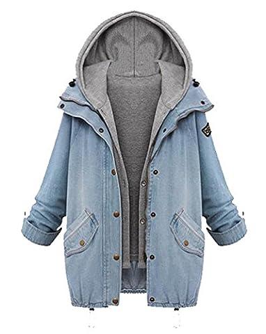 Femmes Hoodies Jeans 2-In-1 Vestes Cardigans Blazer Décontracté Classique Réglable Vintage Style Outwear Manteau