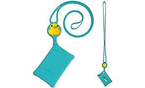 Cravatta per carte di credito, cordino in silicone con custodia per porta carte di credito, carta d'identità, chiave, regalo, anatra Patti (blu)