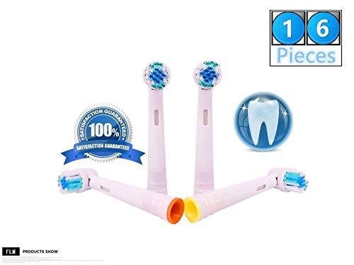 FLM Vitality Precision Clean EB17B - Cabezal de recambio para cepillo de dientes eléctrico compatibles con Braun Oral B, 16 unidades