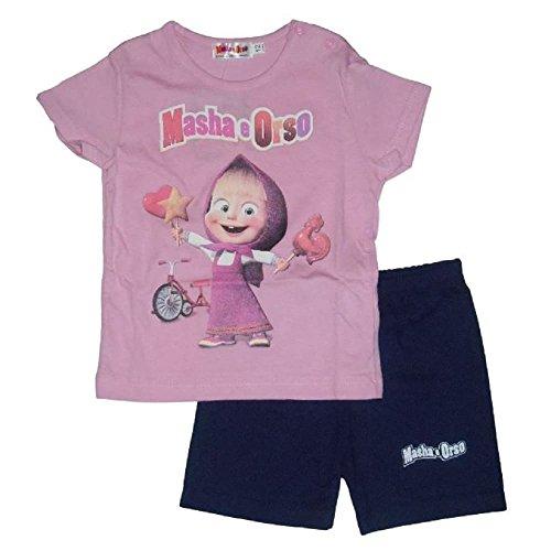 Masha & orso completo t-shirt rosa e shorts per neonata (12 mesi)