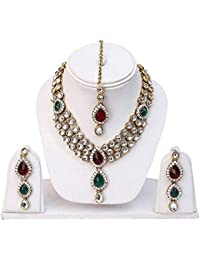 Aradhya Traditional Gold Plated Green And Maroon Kundan Necklace For Women Traditional Jewellery Set With Earrings...