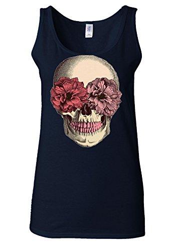Skull Skeleton Tumblr Fashion Flower White Women Vest Tank Top Bleu Foncé