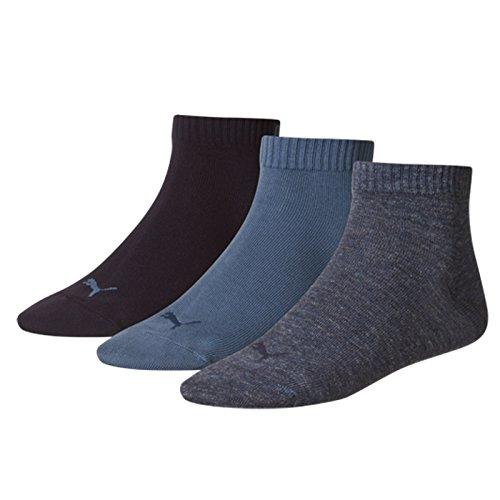 Puma Sport Socken (Ausgewählte. Farben) Unisex Fashion Quarter (3Paar), Damen Unisex Kinder Herren, Blau - Denim-blau, UK Size 6-8 -