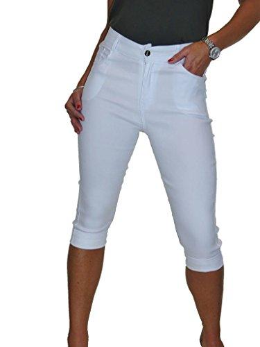 ICE Capri Hose für Frauen Jeans-Stil mit Stretch Weiß 36-48 (48) -