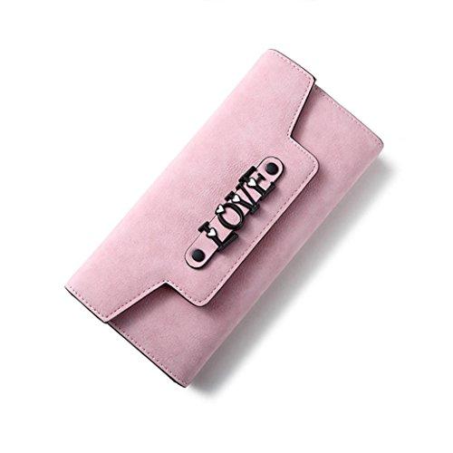 Portafoglio Donna, Tpulling Sacchetto di telefono multifunzionale della borsa della borsa del raccoglitore della borsa di cuoio delle donne (Dark Blue) Pink
