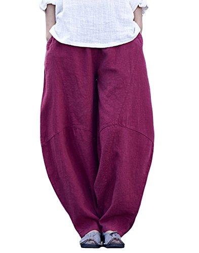 Happy Cherry Damen Pumphose Leinenhose Vintage Loose Elastisch Taille Hosen Freizeit Atmungsaktiv Wide-Leg Haremshosen mit Taschen (Wide-leg Leinen Hose)