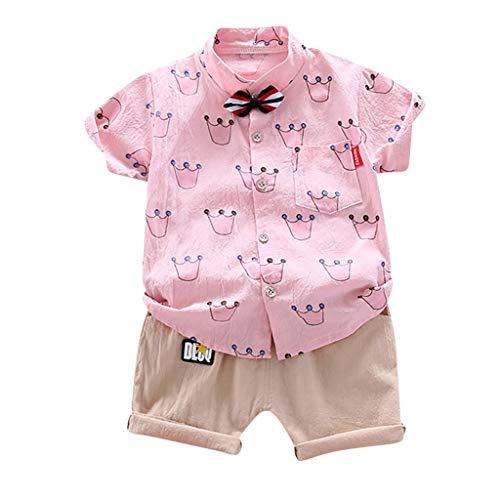 Anglewolf Baby Junge Bowtie Gentleman T-Shirt Hosen Hochzeit Anzug Tuch Sets 2tlg Bekleidungssets Hemd Kinder Festliche Kurzarm Body für Frühling Sommer 1-5 Jahre(Rosa,XL)