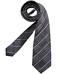 Krawatte Seidensticker, reine Seide, anthrazit, kariert mit Streifen