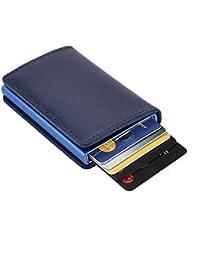 Dlife Tarjetero RFID Cartera Crédito, Cartera de Aleación de Aluminio Multiuso Bolsillos, Premium Cuero