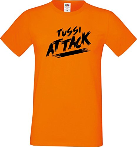 Shirtinstyle Männer T-Shirt Tussi Attack,orange, S