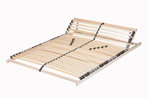 federholzleisten fuer lattenroste TAURO 22921 7-Zonen Lattenrost 140x200 cm | Geeignet für alle Matratzen | Kopfteil verstellbar | Komfort Lattenrost mit 28 Leisten