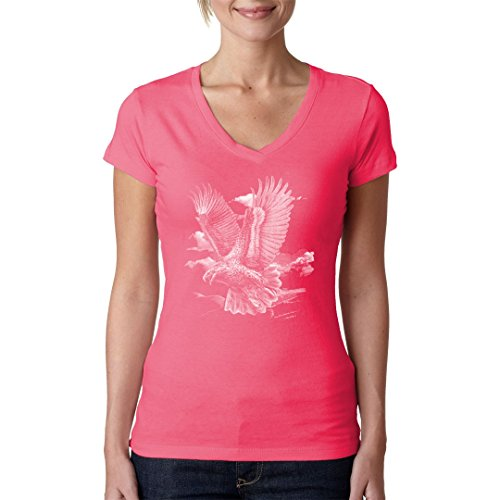 Fun Girlie V-Neck Shirt - Fliegender Adler by Im-Shirt Light-Pink