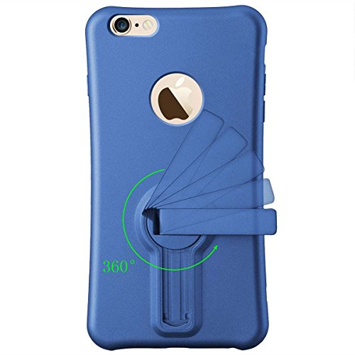 iPhone 6 Plus Hülle iPhone 6S Plus Mount Hülle HB-Int 3 in 1 Weich Silikon Schutzhülle 360 Grad Standfunktion Handytasche Schutz Stoßfest Etui Ständer Case Soft TPU Back Cover Rot für iPhone 6/6S Plus Elegant Blau