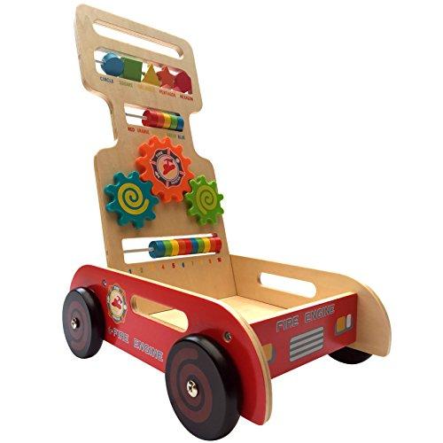 Bee Smart - Jouet de Premier Age - Trotteur en bois multifonction - Centre d'activité - Chariot en bois. Design Camion de pompier