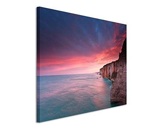 XXL Fotoleinwand 120x80cm Landschaftsfotografie – Sonnenaufgang am Atlantik, Frankreich auf Leinwand exklusives Wandbild moderne Fotografie für ihre Wand in vielen Größen