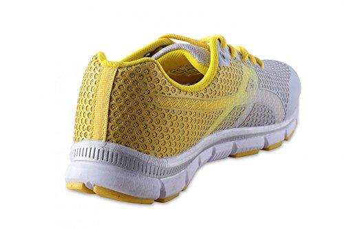 Chaussures pour femme avec fermeture sneaker baskets sport mesh modèle type b - L.Grey/Yellow
