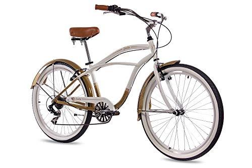 CHRISSON 26 Zoll Beachcruiser Sando Weiss Gold mit 6 Gang Shimano Tourney Kettenschaltung, Damenfahrrad, Herrenfahrrad im Retro Look, Vintage Cruiser Bike