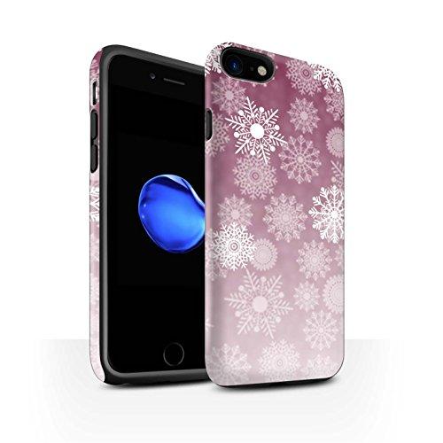 STUFF4 Matte Harten Stoßfest Hülle / Case für Apple iPhone 8 / Blau Muster / Schneeflocke Nebel Kollektion Rot