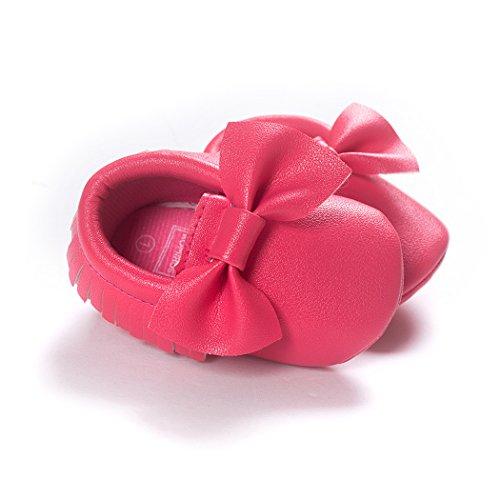 Anna-Kaci Baby Bogen weiche Sohle Leder Schuhe Infant Jungen Mädchen Kleinkind Mokassin 0-18 Monate Dark Pink