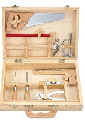 Kinder Holz Werkzeugkasten Werkzeugkiste Werkbank Werkstatt Spielzeug XXL Set Werkzeugkoffer