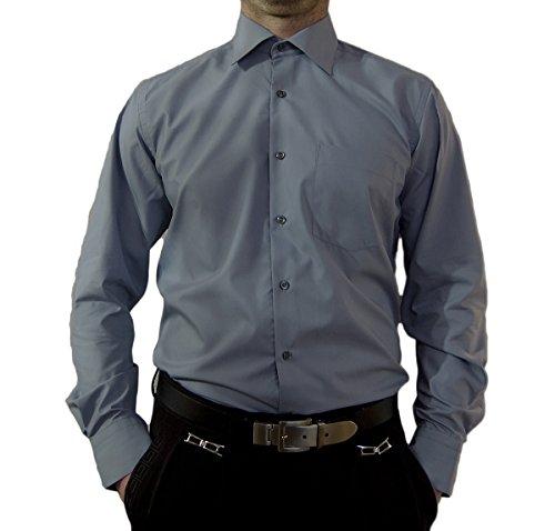 Designer Herren Hemd Grau Bügelfrei klassischer Kragen Herrenhemd Kentkragen Langarm Größe XL 43