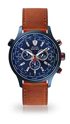 DETOMASO AURINO Herren-Armbanduhr Chronograph Analog Quarz blaues Edelstahlgehäuse dunkel blaues Zifferblatt (Leder - Dunkelbraun)