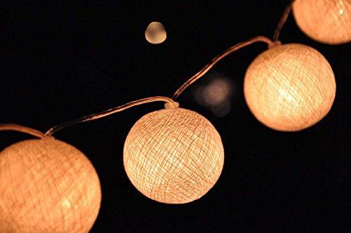 10Er Weiß Baumwolle Kugel Led Lichterkette Warmweiß