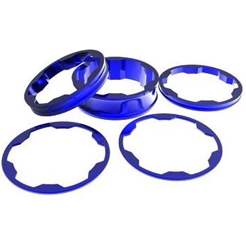 Stem spacers Kit 1 1/8' 10,5,3,1(2pcs)mm blue by (Stem Spacer Spacer)