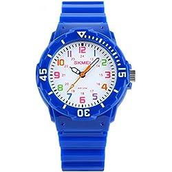 Sencee Fashion Cute niños niñas estudiantes muñeca relojes Casual relojes de pulsera Relojes Cuarzo Impermeable reloj azul