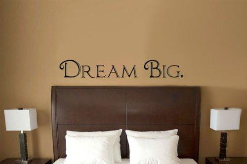 Imprinted Designs Dream Big Worte vor Bett Vinyl Wand Aufkleber Aufkleber Kunst Large 5