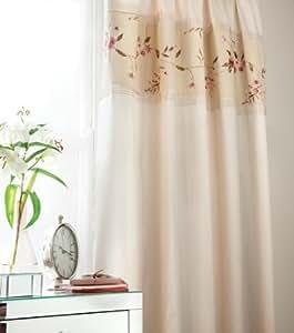 catherine lansfield luxus gardinen vorh nge ravenna creme mit blumen applikationen und. Black Bedroom Furniture Sets. Home Design Ideas