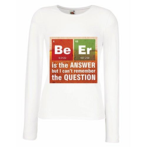 Weibliche Langen Ärmeln T-Shirt Das Bier ist die Antwort (X-Large Weiß Mehrfarben)