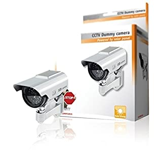 Premium Fake/Dummy CCTV Security Camera Solar Powered with Flashing LED light - Indoor Outdoor - Silver [ARTUROLUDWIG]