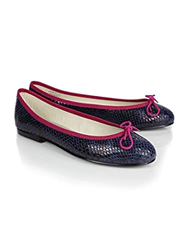 Navy Womens French Sole Women's India Snake Print Ballet Pumps