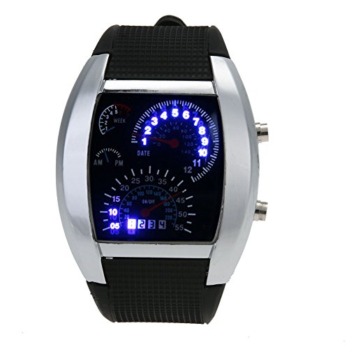 Demiawaking New Men Speedometer Style Rubber Sports Watches Digital LED Electronic Watches Business Wristwatch Gift (Black)