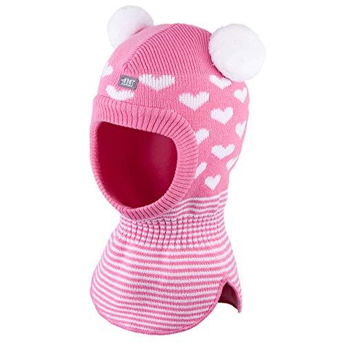 Galeja TuTu Kinder Schlupfmütze Rosa/Weiß 44-48 Mädchenmütze Winter Mütze Baumwollfutter mit Stirnschutz